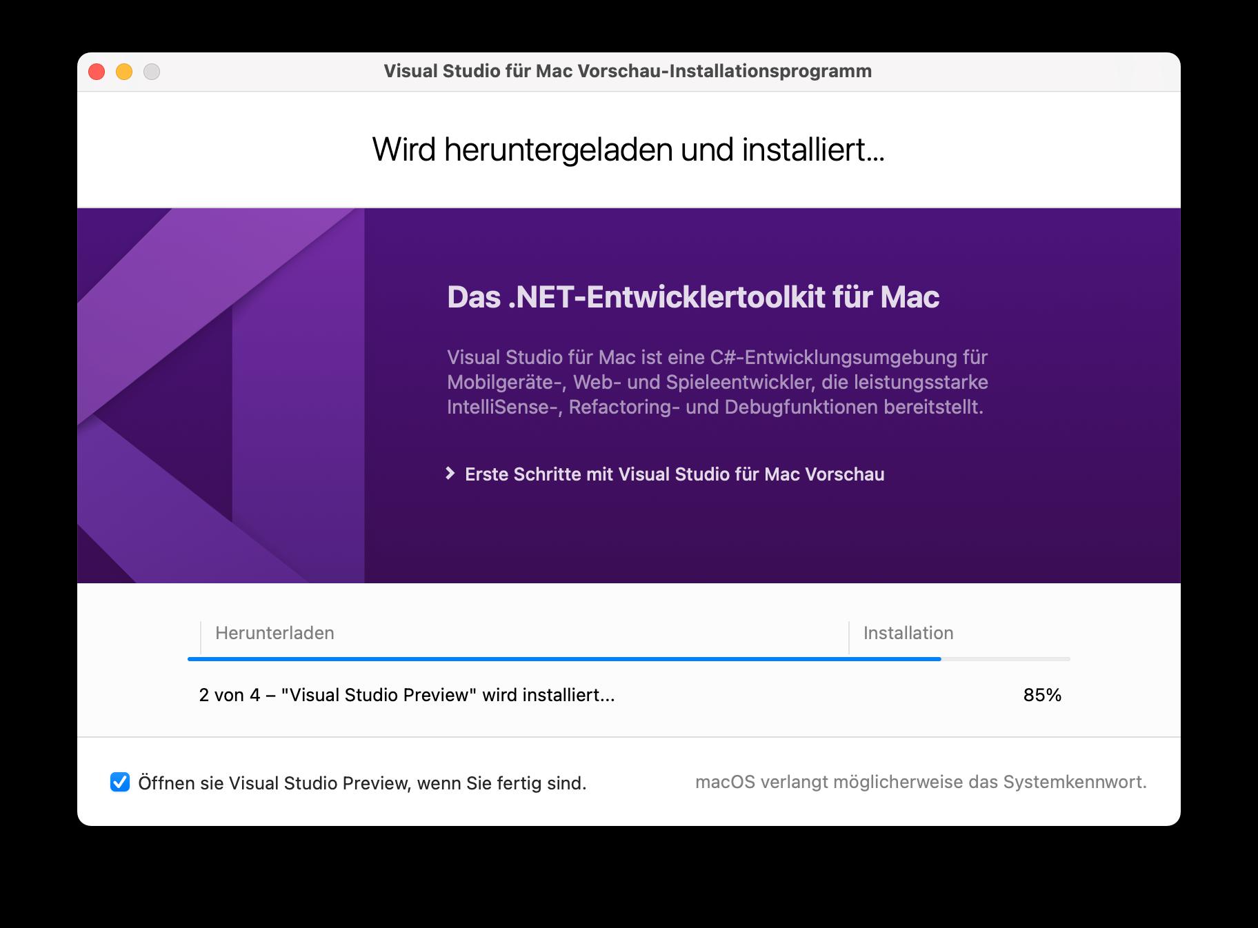 Visual Studio für Mac herunterladen