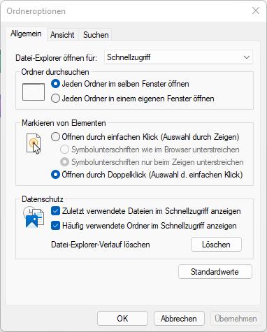 Die Ordneroptionen in Windows 11